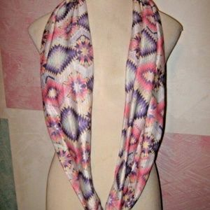 Pink Purple White Gray Geometric Infinity Scarf